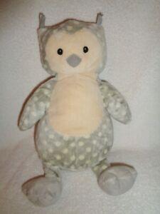 """Owl Gray White Polka Dot OLLIE Stuffed Plush Beanbag 10"""" Little Jellycat RARE"""