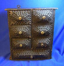 Antique German Wood Tramp Art Pharmacist Cabinet #<