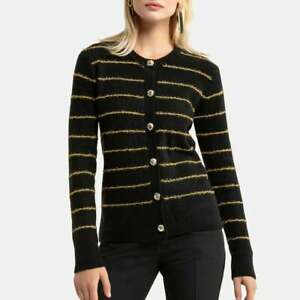 Chunky Knit Buttoned Cardigan with Crew-Neck 22-24