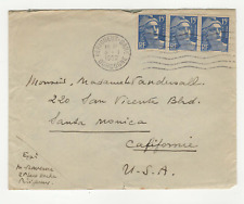 France 3 timbres sur lettre 1952 tampon Périgueux gare /L619