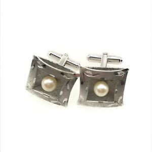 Vintage 925 Sterling Silver Real Pearl Etched Cuff Links