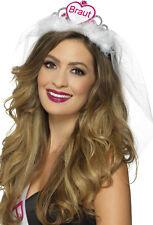 Braut Diadem mit Schleier weiß-pink NEU - Karneval Fasching Hut Mütze Kopfbedeck
