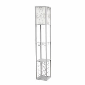 Simple Designs Floor Lamp Etagere Organizer Storage Shelf and Wine Rack with ...