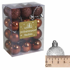 Incassable Décoration Sapin de Noël - Lot de 24 Mini 30mm Boules - Marron
