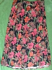 CROFT & BARROW SKIRT black red pink green FLORAL sz XL LINEN bias FLARED