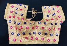 """33"""" 34"""" S Saree Blouse Indian Bollywood Designer Sari Top Gold Pink Purple A42"""