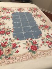 Vintage 40's 50's Floral Tablecloth 56 x 72 - RED WHITE BLUE PICNIC!