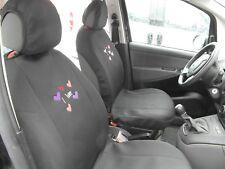 Coppia coprisedile auto universale anteriore con cuori cotone fodera nero donna