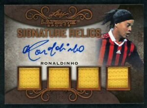 2019 Leaf Ultimate Sports Ronaldinho Gaúcho 2/4 Signature Relics Quad Patch Auto