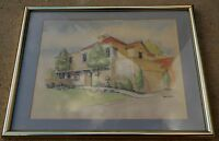 Vintage Painting Bob Botes California Country Scene Ink & Watercolor
