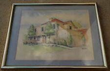 Vintage Bob Botes California Country Scene Ink & Watercolor Painting