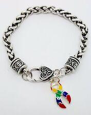 Autism Awareness Puzzle Ribbon Charm Dangle Fashion Silver Tone Clasp Bracelet