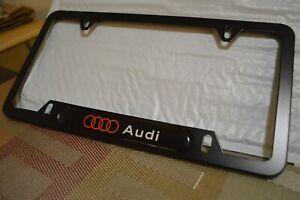 Audi Rings 3D Logo License Plate Frame Aluminum Matte Black A4 A6 S Line