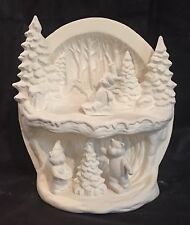 Hershey Ceramic Bisque Winter Burrow Light Scene with Bears Ready to Paint