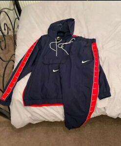 Nike Men's Tracksuit, Hoody, bottoms, Blue, Red, running, football XL