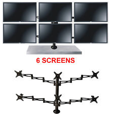 """6 SIX LCD LED MONITOR SCREEN FREESTANDING DESK STAND MOUNT ADJUSTABLE 27"""""""