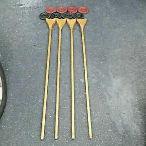 Vintage Sportcraft Wooden Shuffleboard Pusher Cue Sticks With 6 Pucks