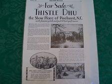 Thistle Dhu Pinehurst, NC 1930 Country Life Magazine Real Estate For Sale Ad