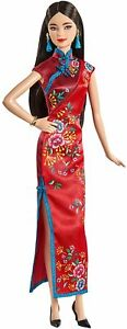 Barbie Signature Lunar New Year Doll (12-inch Brunette) Wearing Red Satin...