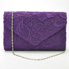Womens Ladies Lace Envelope Clutch Bag Evening Bag Bridal Wedding Bag Handbag