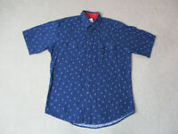 Wrangler Pearl Snap Shirt Size Adult Large Blue Western Cowboy Rodeo Mens
