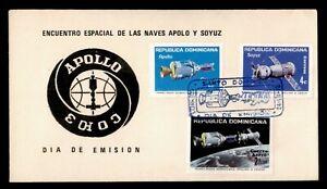 DR WHO 1975 DOMINICAN REPUBLIC FDC SPACE APOLLO/SOYUZ CACHET COMBO  g00484