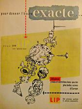 PUBLICITÉ DE PRESSE 1955 MONTRE LIP POUR DONNER L'HEURE EXACTE