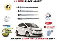 """Pour KIA VENGA 1.4 1.6 CRDi """"VGT 2010 -- > NEUF 4 X Moteur Diesel Bougies De Préchauffage Set"""