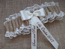 PERSONALISED HESSIAN & LACE WEDDING GARTER RUSTIC SHABBY CHIC IN BOX
