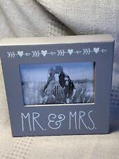 "Mr & Mrs.Wedding Photo Wood Frame 8 X 8 X 1.5"" New"