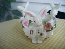 Vintage Whimsical Hand Painted Glass Easter Bunny Egg Cup Collectible Kitchen