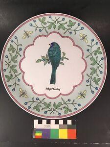 "Chinese Famille Verte Porcelain 10"" Plate Winterthur Repro Indigo Bunting Bird"