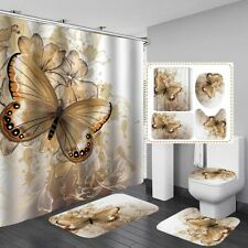 4/3/1 Pcs Butterfly Shower Curtain Bathroom Toilet Lid Cover Carpet Rugs Mat Set