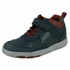 Boys Clarks Casual Hook & Loop Leather & Synthetic Hi-Top Trainers Rex Park K