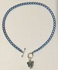 """10"""" anklet with Crystal Butterfly pendant Deep Blue aluminum chain Nickel Free"""