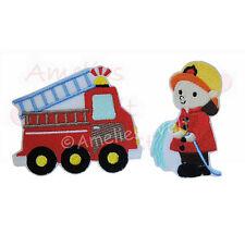 Feuerwehrauto & Feuerwehrmann im Set Aufbügler  Bügelbild Patch zum aufbügeln