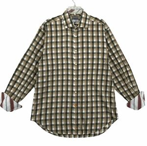 Thomas Dean Men's Long Sleeve Dress Shirt Size L Large Contrast Cuff