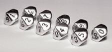 Set of Ten d10 Sterling Silver - Crystal Caste Dwarven Metal 12mm - NEW