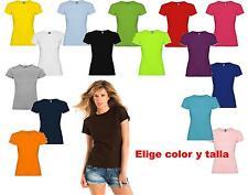 Camiseta blanca color 100% algodon lisas Roly Mujer Jamaica