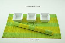 6 fatto a mano in Bambù Tovagliette Tavolo Stuoie, Giallo-Verde P030C