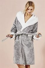 Next Womens Grey Fluffy SuperSoft Dressing Gown/Robe Size 6 Extra Small