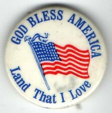 Vintage pin GOD Bless AMERICA pinback LAND that I LOVE pinback