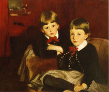 Oil painting Portrait of Two Children hand painted in oil on canvas very nice