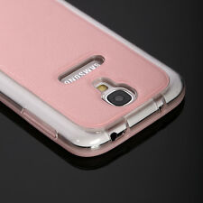 Hybrid Leather PC Hard Shockproof Protective Case Cover for Samsung Galaxy S4