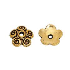 Bead caps antique gold plated flower bead caps 10mm 100 pieces per lot (15403)