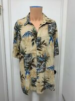 Croft and Barrow Mens Hawaiian Aloha Shirt  Palm Trees Tiki Huts  Rayon L