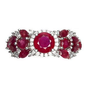 Round Red Ruby 6mm Cz 14K White Gold Plate 925 Sterling Silver Ring Size 9
