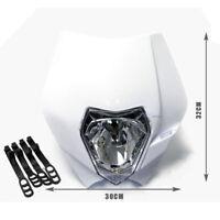 White Motocross PIT Dirt Bike Halogen Fairing Headlight 4 Rec Reg Head light
