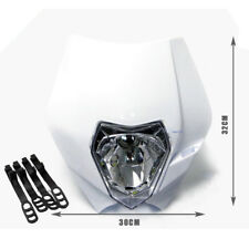 White Motorcross Headlight REC REG Motorbike Dirt Bike PITPRO ATOMIK Motorcycle