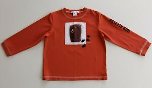 Janie And Jack Toddler Boys T Shirt 3T Cotton Rust Bear Applique Long Sleeve